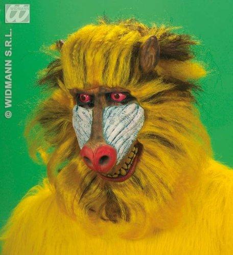 Affen-Maske Pavian gelb-rot-weiss Einheitsgröße (Pavian Maske)