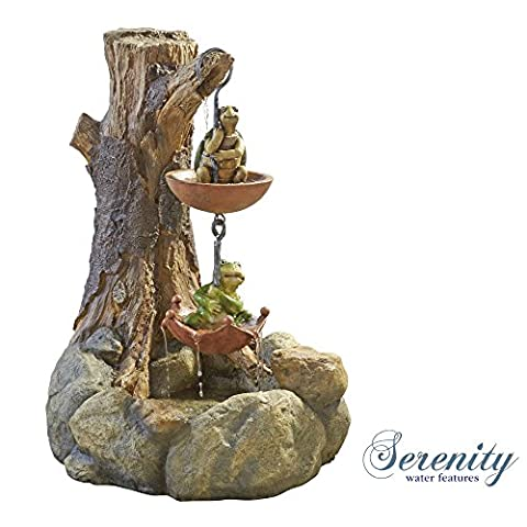 Turtle and Frog 2 Tier Water Fountain, Garden Feature for Outdoor, Lawn, Patio & Decking