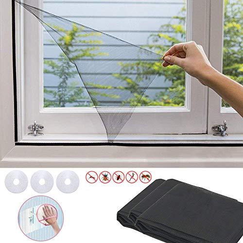 AUVSTAR Fliegengitter,3pcs Fenster Insektenschutzgitter mit 3 Rollen selbstklebende Bandreifen,zuverlässiger Schutz vor Mücken,Fliegen,Insekten, Ungeziefer-1.5m x 2m,Geschenk Staubhandschuhe (Schwarz)