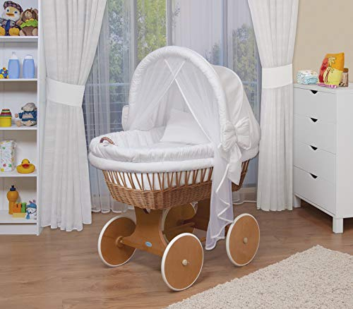 WALDIN Baby Stubenwagen-Set mit Ausstattung,XXL,Bollerwagen,komplett,44 Modelle wählbar,Gestell/Räder lackiert,Stoffe weiß (100 Pics Ca)