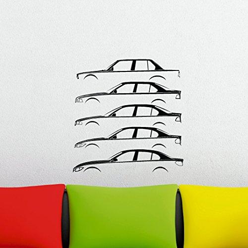 Voiture Sticker mural silhouette histoire - basé sur BMW E30, E36, E46, E90 et berline F30 série 3