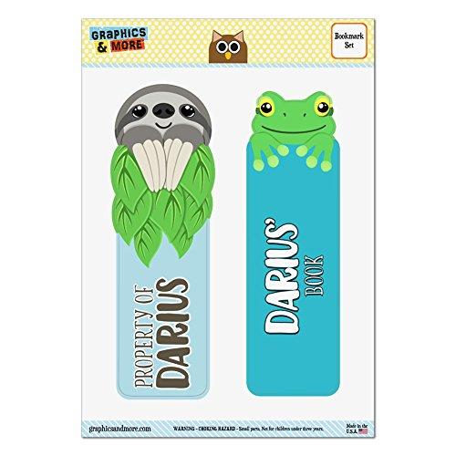 set-of-2-glossy-laminated-sloth-and-frog-bookmarks-names-male-dac-dav-darius