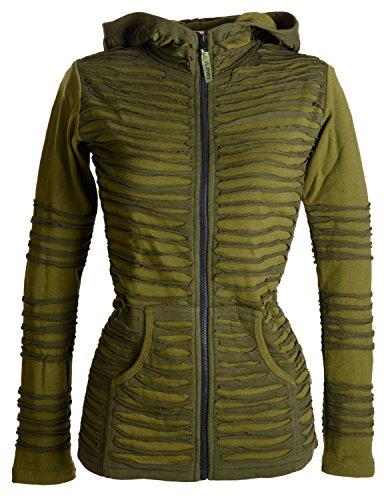 Vishes �?Alternative Bekleidung �?Elfen-, Zipfelkapuzenjacke aus Baumwolle mit Cutwork �?aufgeschnitten Olivegrün