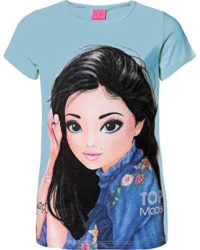 TOP MODEL Ragazze Maglietta, T-Shirt, Blu, Taglia 140, 10 Anni