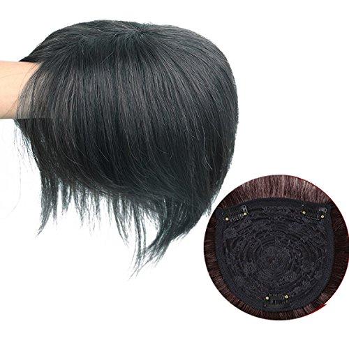 Dreanworldeu Damen Perücke Glatt Echthaar Haarteil Haarverdichtung für Haarausfall oder Weißes und Dünnes Haar zu Bedecken