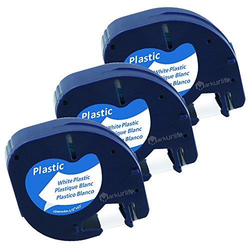 kompatibel Dymo Etikettenband LetraTag Plastic White 12mm x 4m (Dymo LetraTag 91221/S0721660), Kunststoff, schwarz auf weiß, für Dymo LetraTag LT-100H LT-100T XR QX 50, 3er Packung, von Markurlife