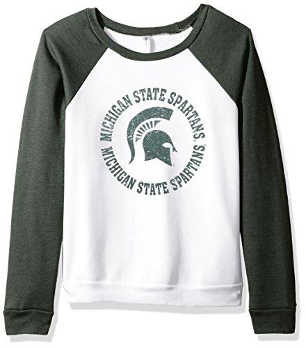 Blue 84 NCAA Michigan State Spartans Damen Fleece-Crew Shirt, Größe L, Weiß/Wald