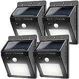 Solarleuchten für Aussen bewegungsmelder 20LEDs Solar lampe(4-Packung) Kabelloses Wasserfest Sicherheitslicht Solarlicht für Gärten,Türe,Flur,Wege,Terrassen, Patio, Zaun