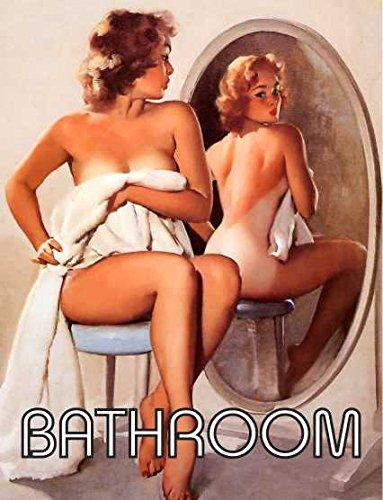 Pin Up Girl Miroir de salle de bain rétro shabby chic style vintage Photo plaque murale en métal Aimant de réfrigérateur