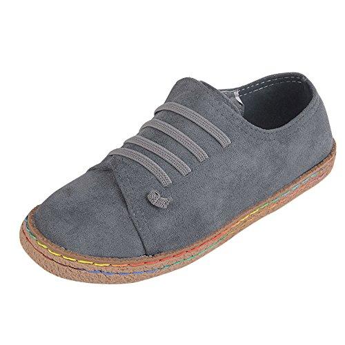 BHYDRY Frauen-Damen-weiche flache Knöchel-einzelne Schuhe weibliche Wildleder-Schnürstiefel(38,Gris)
