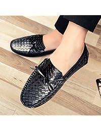 Los Hombres De Cuero Zapatos De Verano De Grano, Transpirables, Los Zapatos De Cuero Redondo, Estudiantes Zapatos Bajos, Lazy Pie Tic Tejer Zapatos Casuales,Eu41,Black