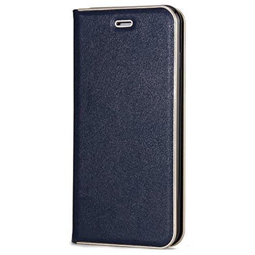 CaseforYou Hülle iPhone 7 Plus Deckung Gehäuse Litchi Grain Pattern PC + PU Leather Protective Deckel Case Magnetic Closure Flip Stand Cover mit Card Slot Schutz für iPhone 7 Plus (Grey) Blau