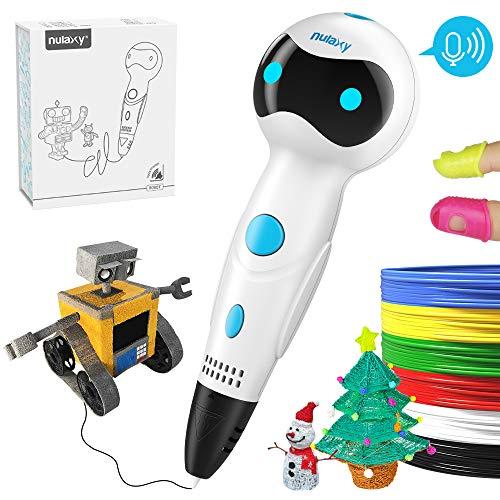 3D Stifte, Nulaxy 3D Pen Roboter Druckerstifte mit 1.75mm PLA Filament Gutes Geburtstags-und Weihnachtsgeschenk für Kinder (① Weiß)