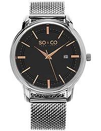 So y de Nueva York Madison Co para hombre reloj infantil de cuarzo con esfera analógica gris y plateado correa de acero inoxidable de 5207,3