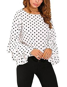 AIMEE7 Camisa De Lunares Suelta De Las Señoras De La Manga De La Campana De Las Mujeres De La Moda Tops Casuales...