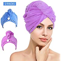 Htovila 2 Packs Hair Turban Towels, Soft Microfiber Quick Dry Hair Drying Towels, Luxury Absorbent and Lightweight Cotton for Women (Blue+Purple)