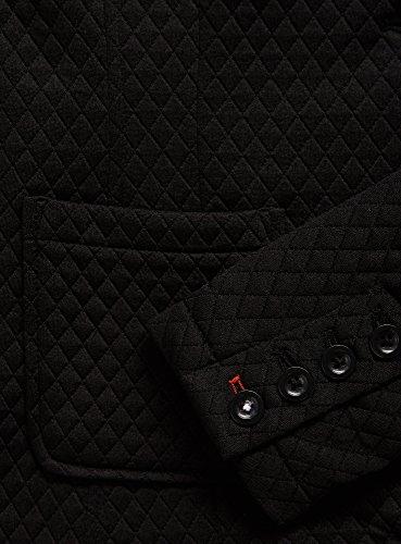 oodji Collection Femme Veste Cintrée en Tissu Reliéfé Noir (2900N)