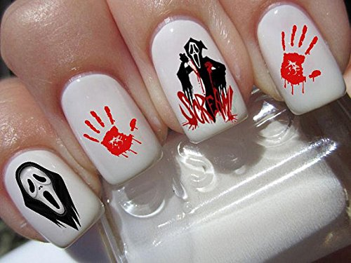 Halloween Nail Art Set X 20Horror Film Scream Abziehbilder Wasser Transfer Abziehbilder Aufkleber Maniküre Set # ()