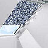 Orignal VELUX Sichtschutzrollo RFL S06 4160S / Bedienart : Manuell / Farbe : Dekor Blau/Weiß / Fenstergröße : S06 / Fenstertypen : GGU, GPU, GHU, GTU, GXU, GGL, GPL, GHL, GTL, GXL _24099