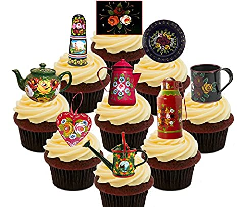 Canal Ware / Roses and Castles Party Pack, Edible Cupcake