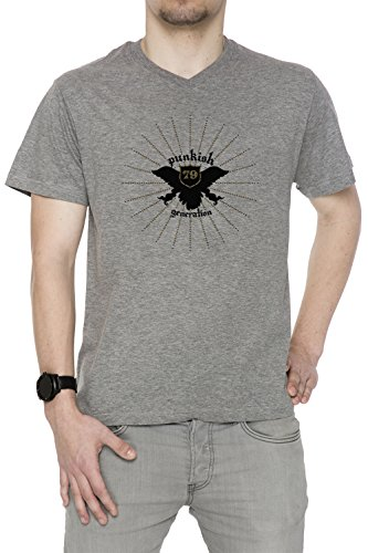 Punkish Generation Uomo V-Collo T-shirt Grigio Cotone Maniche Corte Grey Men's V-neck T-shirt
