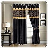 Imperial Rooms Jacquard-Vorhang mit Ösen aus Kunstseide. Üppige T-300komplett gefütterte Vorhänge mit Ösen. Gardinen, Hausdekor, Schlafzimmervorhänge, schwarz / gold, 66