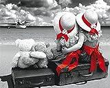 CaptainCrafts Neu Malen Nach Zahlen Kits 16x20 für Erwachsene Anfänger Kinder, Creative DIY digitales Ölgemälde Kinder Leinwand - Strand Gut Freund Gut Schwestern (mit Rahmen)