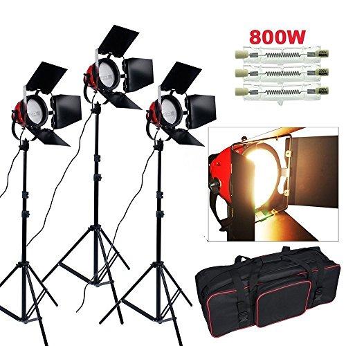 BPS 2400W Kit Estudio Fotografía, Redhead Luz de Color Caliente, Luminosidad alta, Luz Suave Iluminación Continua, Halógena Bombilla con Trípode y Bolsa, Equipo Fotográfico Profesional de Iluminación para Video y