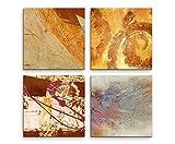 Bilder auf Leinwand (4 Stück 40x40cm) - Abstrakt Oker Pastell Orange Brauntöne