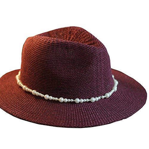 Femmes Filles Mode Été Plage Décoration De Chaîne Bord Large Lin Chapeau De Soleil Chapeau De Jazz violet A