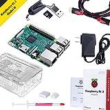 Raspberry Pi 3 Modèle B avec Boîtier Transparent, Alimentation, Dissipateur Thermique, Carte SD 32 Go, HDMI Câble