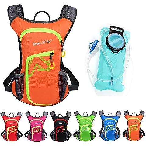 Asiki 12L Zaino con acqua 2L Vescica–Impermeabile Campeggio, Trekking, corsa, bici da trekking arrampicata ciclismo idratazione e zaino, arancione