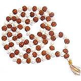 Divya Shakti Natural Rudraksha & Pearl Mala 7 mm Beads - 108+1 Beads Japa/Rosary Rudraksh + moti Mala (Spiritual mala)