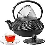 VonShef Tetsubin Japanese Style Cast Iron Black Hobnail Teapot Kettle 0.8L - Free 2 Year Warranty.