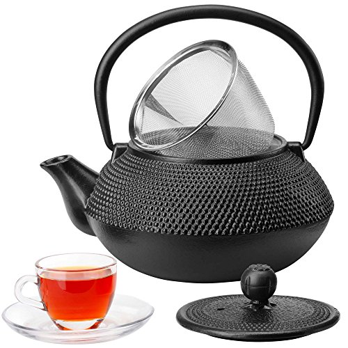 VonShef Cast Iron Teapot Tetsubin Japanese Style Black Hobnail - 5 Cup Capacity - Stainless Steel Infuser Included