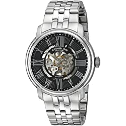 Stuhrling Original Atrium Men's Automatic Watch with Black Dial Analogue Display and Silver Stainless Steel Bracelet 812.02