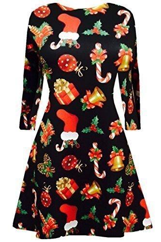 Neuf Femme Mini Robes Sapins De Noël Noël Père Noël Bonhomme De Neige Renne Rudolphe Cadeau Cloches Présent Femmes Couvercle À Bascule Geschenk & Bell Schwarz