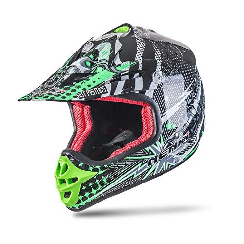 NENKI NK-303 Kinder Motocross Offroad Helm Für Kinder Dirt Bike (M 51-52CM, Schwarz Grün)