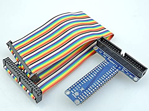 [Sintron] 40 Pin GPIO Extension Board with 40 Pin Rainbow Color Ribbon Cable for Raspberry Pi 1 Models A+ and B+, Pi 2 Model B, Pi 3 Model B and Pi