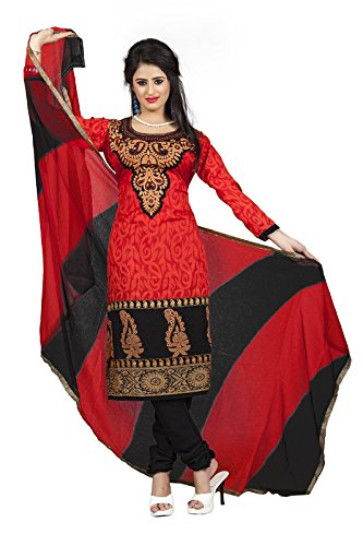 DivyaEmporio Women's Cotton Resham Anarkali Unstitched Dress Material (Red_Free Size)