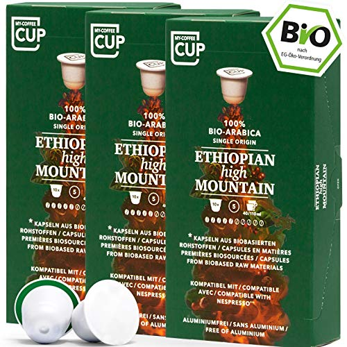 BIO Kaffeekapseln von My-CoffeeCup | Kompatibel mit Nespresso®*-Maschinen | 100% kompostierbare Kapseln ohne Alu (Ethiopian High Mountain, 30 Kapseln)