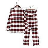 COIN Damen Pyjama mit Knopfleiste & Hemdkragen, Zweiteiliger Schlafanzug, 2 Farbe, S-XL
