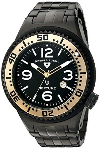 Swiss Legend - Orologio svizzero al quarzo, da polso, da uomo, spesso 52 mm, modello Neptune 21819P-BB-11-GA, con cassa e bracciale in acciaio, colore del quadrante: nero