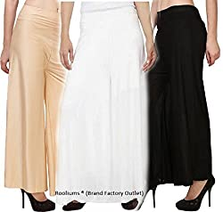 Rooliums Brand Factory Outlet Womens Trendy and Stylish Malai Lycra Palazzo (Pack of 3) Free Size (Beige, White, Black)