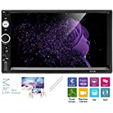 AMprime Universal 2 Din Car Stereo Radio Player Bluetooth 7 Inch Capacitance Touch Screen With USB/SD/TF/AUX Input Support Backup Camera Input Android Phone Mirror Link + Steering Wheel Control