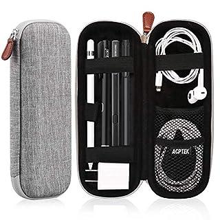 AGPTEK Apple Pencil Hülle, Premium Kunstleder Tasche Stiftschlaufe Stift Schutzhülle für Samsung, Huawei, Surface Pro Eingabestift mit integriertem Ablagefach und passend für USB Kabel, Grau