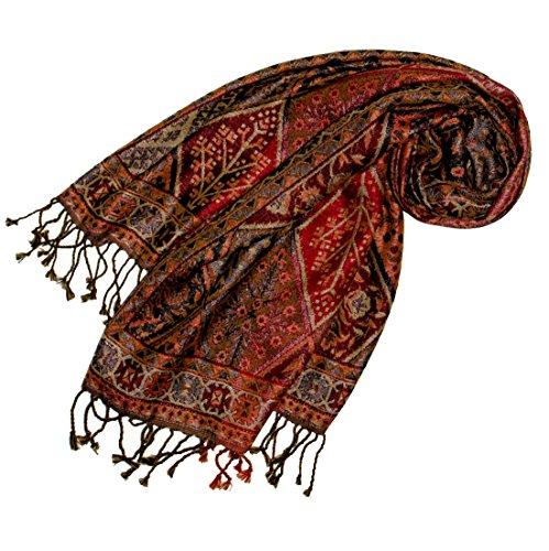 LORENZO CANA - Luxus Damen Pashmina Schal Schaltuch aus Seide und Wolle 70 cm x 190 cm Braun Bronze Paisleymuster Schaltuch Stola Umschlagtuch gewebt 78097