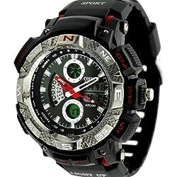 Denis Charm New Shock Sport Digital Rubber OHSEN Waterproof LCD Unisex Alarm Date Mens Military Watch - Red