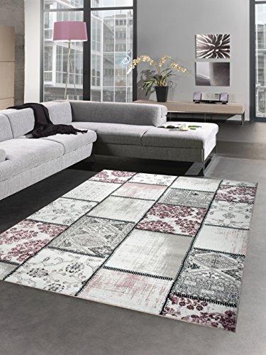 Carpetia Designer Teppich Patchwork Vintage Wohnzimmerteppich Multicolor lila rosa grau Größe 200 x 290 cm