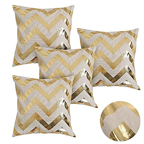 Deconovo Square Cushions Geometric Recycled Cotton Decorative Cushion Covers for Livingroom 18 x 18 Inch Gold Set of